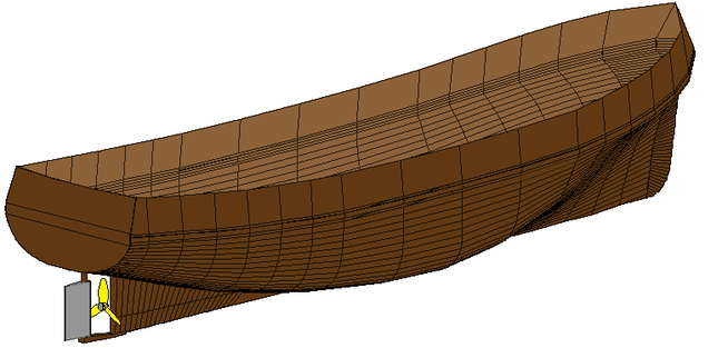 artist rendering of a boat hull